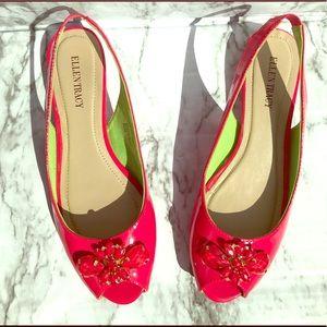 Ellen Tracy flats size 8.5 slingback open toe shoe